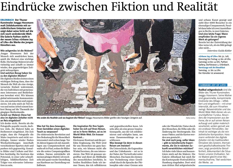 Artikel über Pythongalerie Zürichseezeitung